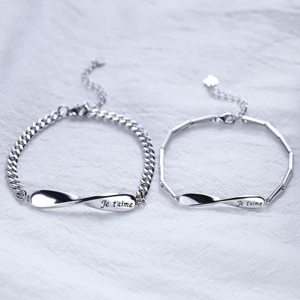 Unique Je t'aime Infinity Charm Bracelets For Couples In Sterling Silver