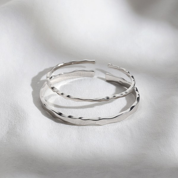Unique Each Other Matching Cuff Bangle Bracelets For Couples In Sterling Silver