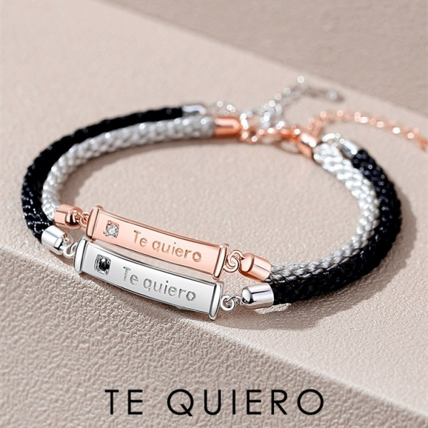 Unique Te Quiero Matching Bracelets For Couples In Sterling Silver