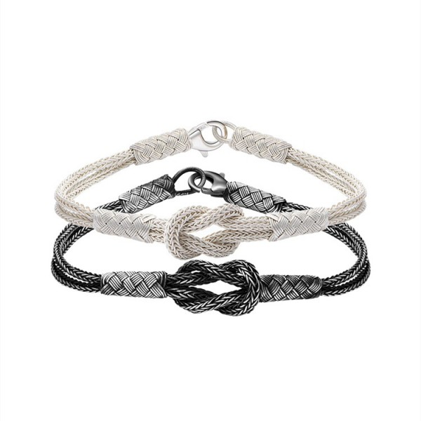 Unique Matching Knot Bracelets For Couples In Sterling Silver And Rope