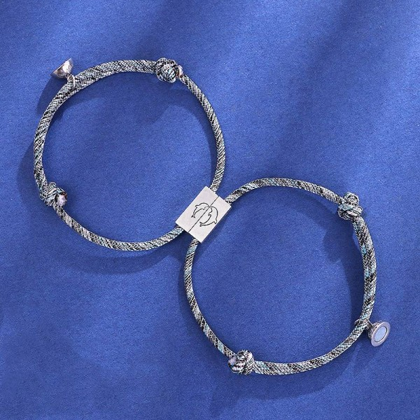 Cute Dolphin Matching Connection Bracelets For Couples In Sterling Silver