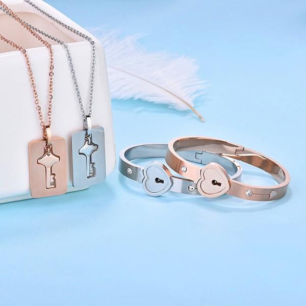 Engravable Lock And Key Bracelet Necklace Set For Couples In Titanium