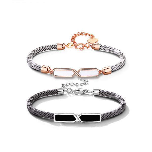 Day And Night Matching Infinity Bracelets For Couples In Sterling Silver And Rope