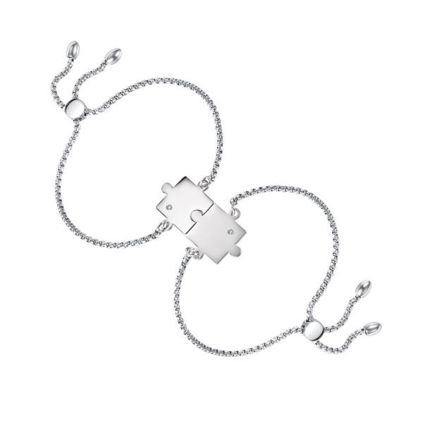 Unique Matching Puzzle Piece Bracelets For Couples In Titanium