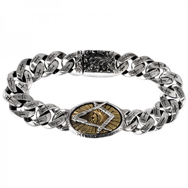 Unique Eye Of God Charm Bracelet For Men In Sterling Silver