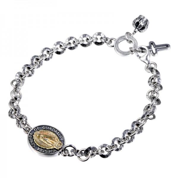 Unique Virgin Charm Bracelet For Men In Sterling Silver