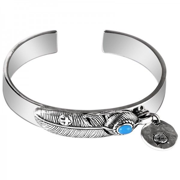 Engravable Men's Turquoise Feather Bangle In Sterling Silver
