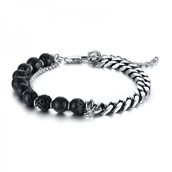 Unique 2 Strand Chain Bracelet For Men In Titanium And Lava Stone