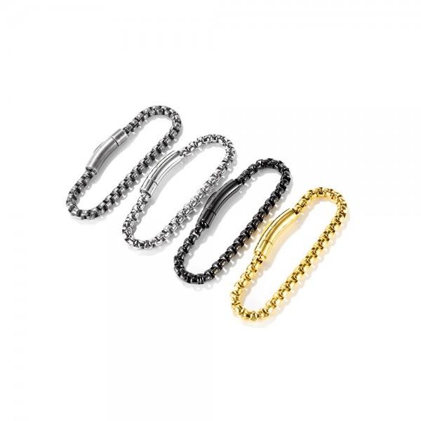 Simple Box Chain Bracelet For Men In Titanium