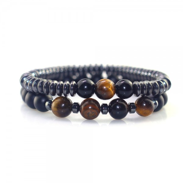 Unique 2 Piece Tiger Eye Stone And Frosted Stone Beaded Bracelet For Men