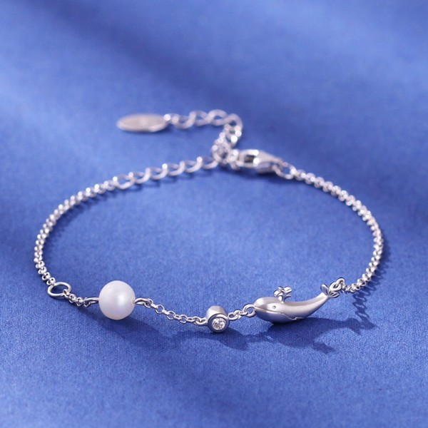 Cute Whale Charm Bracelet For Women In Sterling Silver And Pearl