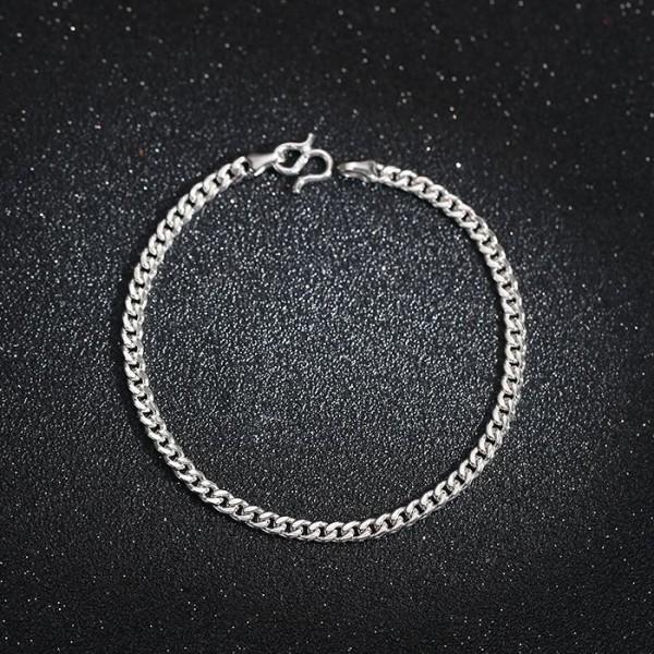 Simple 3mm Cuban Chain Bracelet For Men In Sterling Silver