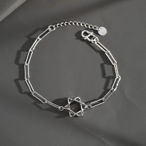Unique Simple Star Charm Bracelet For Men In Sterling Silver