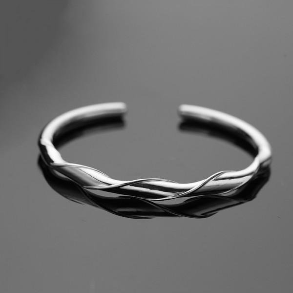 Unique Twisted Bangle Bracelet For Men In Sterling Silver