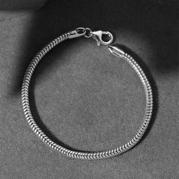 Unique 3mm Snake Chain Bracelet For Men In Sterling Silver