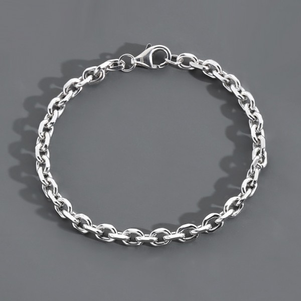 Unique Cable Chain Bracelet For Men In Sterling Silver