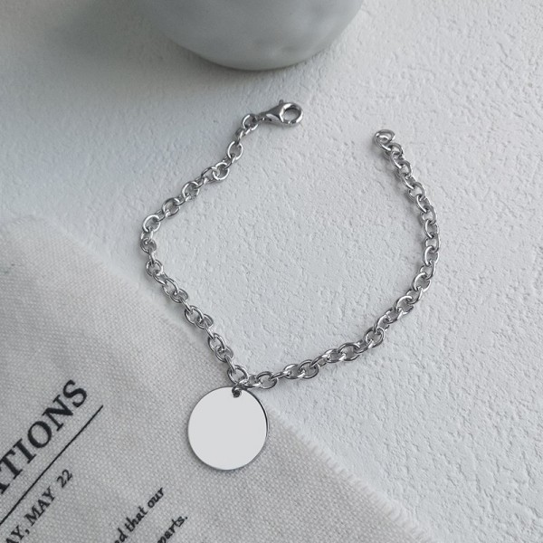 Engravable Simple Charm Bracelet For Men In Sterling Silver