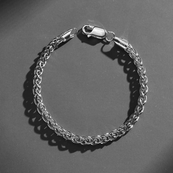 Simple Franco Chain Bracelet For Men In Sterling Silver