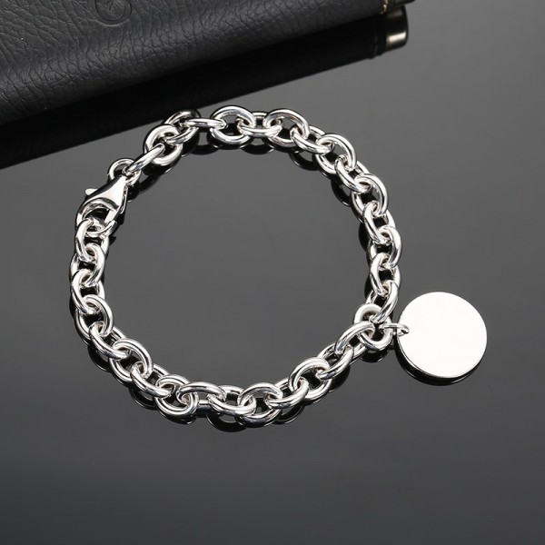 Simple Charm Cable Chain Bracelet For Men In Sterling Silver