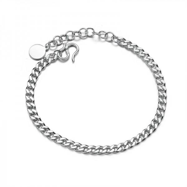 Simple 4mm Cuban Chain Bracelet For Men In Sterling Silver