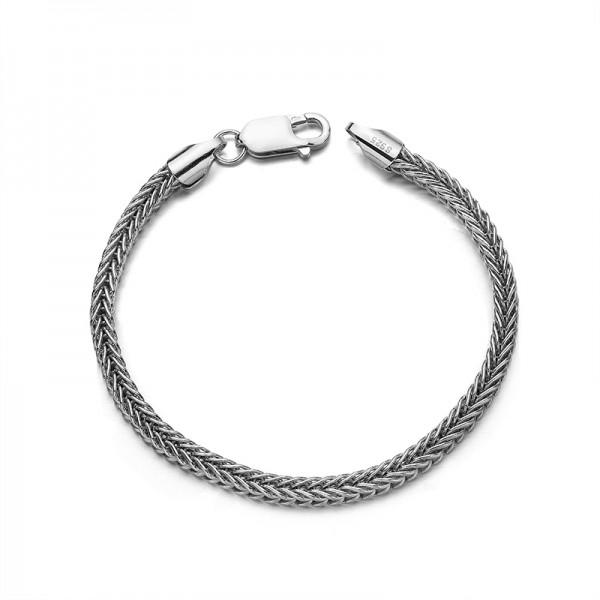 Simple 3.5mm Wheat Chain Bracelet For Men In Sterling Silver