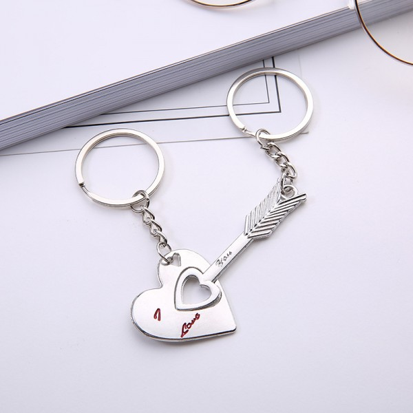Cupid's Arrow Matching Couple Keychains In Zinc Alloy