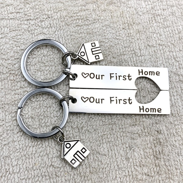 Our First Home Matching Heart Couple Keychains In Stainless Steel