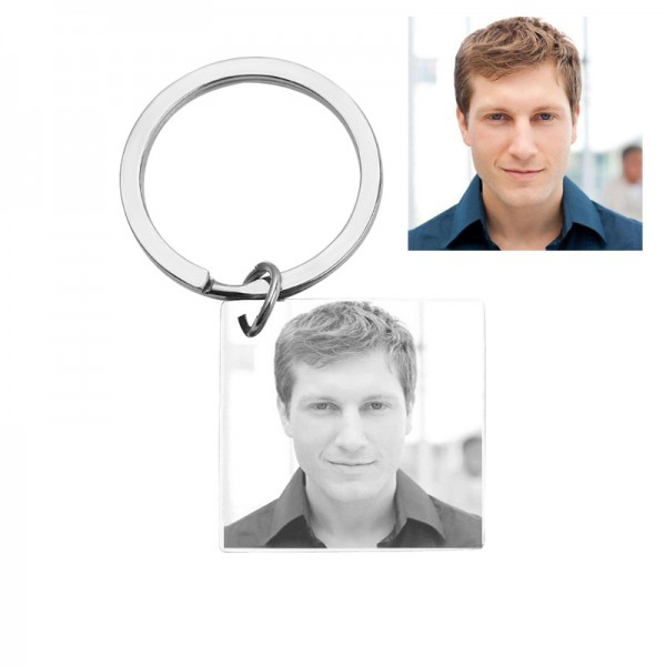 Personalized Photo Engraved Keychain In Stainless Steel