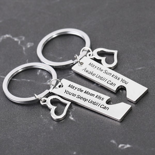 Sun And Moon Kiss You Couple Keychains In Zinc Alloy