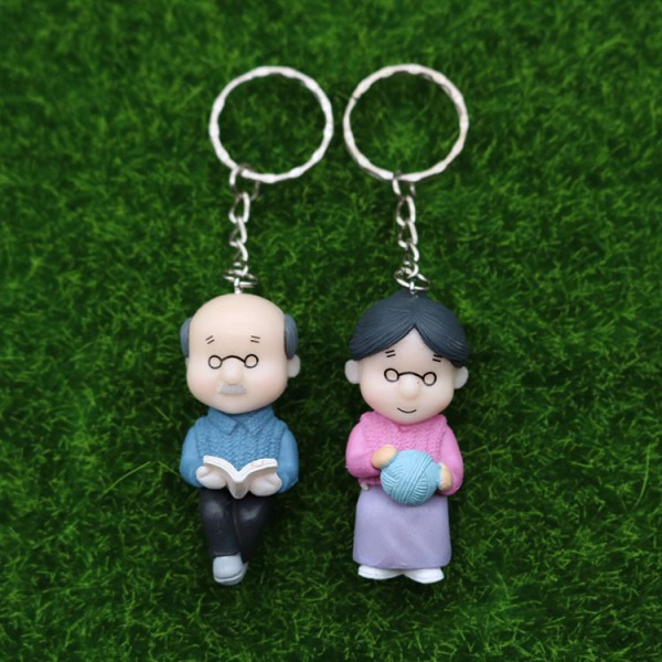 Cute PVC Grandparents Keychains For Couples