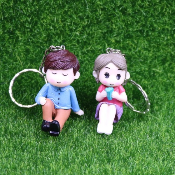 Cute PVC Seated Couple Doll Keychains