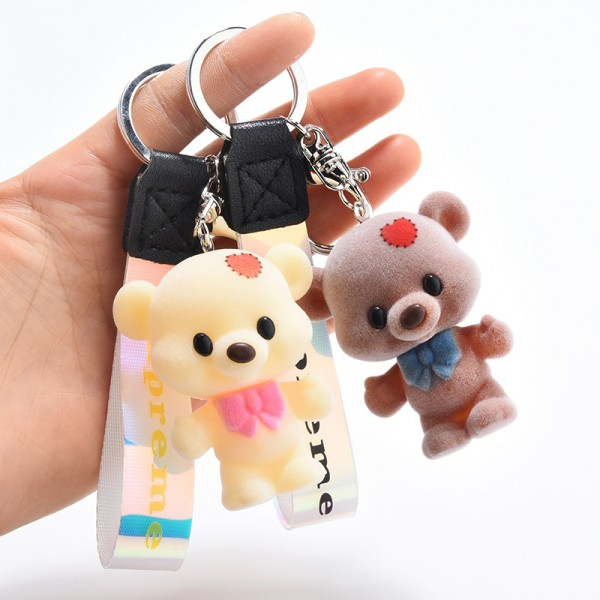Cute Silicone Bear Couple keychains