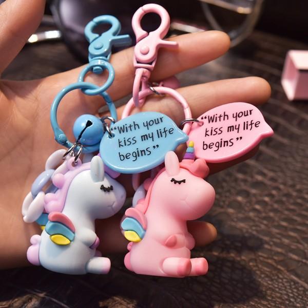 Cute Silicone Unicorn Couple keychains
