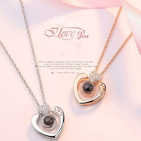 100 Languages I Love You White And Rose Couple Necklace In 925 Sterling Silver