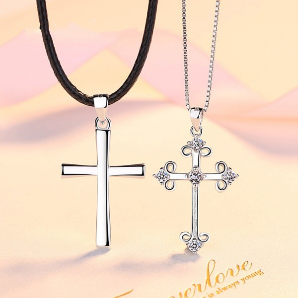 Personalized White Cross Necklace For Couples In 925 Sterling Silver