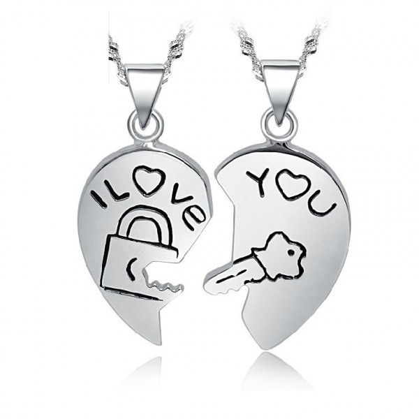 Personalized Lock And Key Matching Couple Necklace In 925 Sterling Silver
