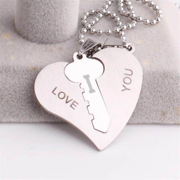 Silver Key To Heart I Love You Couple Necklaces In Titanium