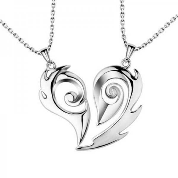 Romantic Soulmate Design Couple Necklace In 925 Sterling Silver