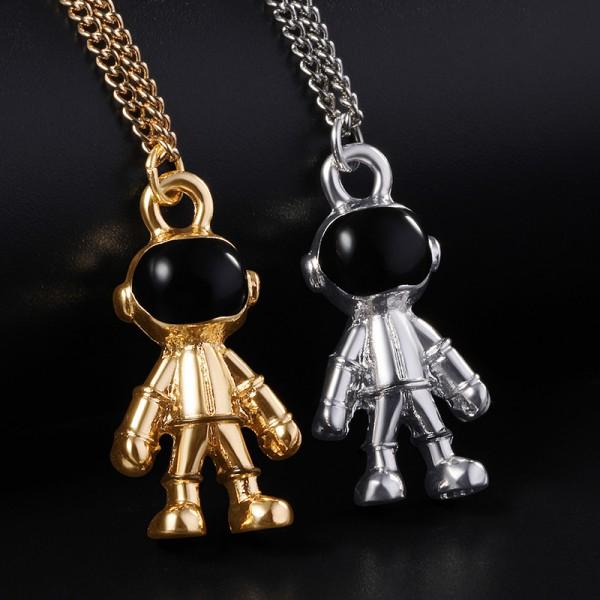 Engravable Robot Astronaut Couple Necklace In Titanium
