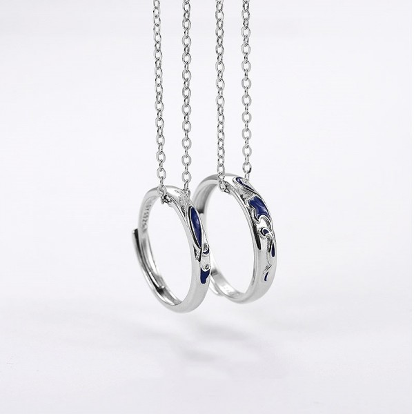 Engravable Sterling Silver Fish In Sea Couple Necklace