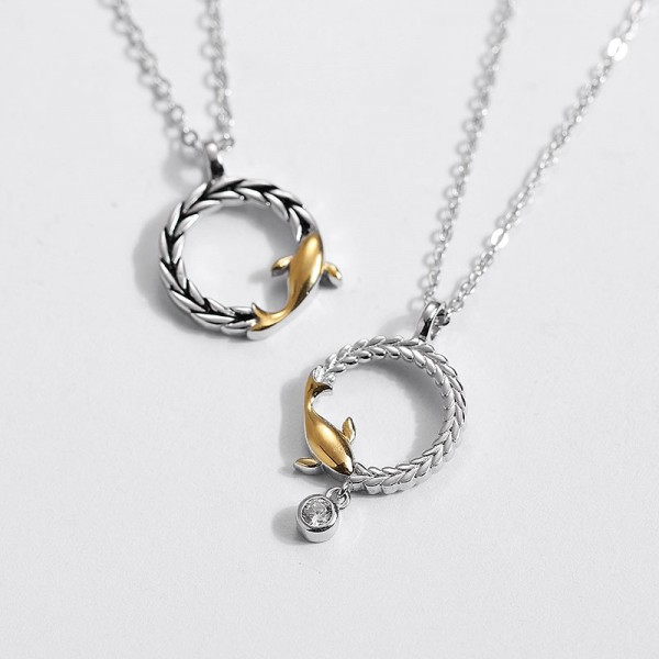 Personalized Golden Dolphin Necklace For Couples In 925 Sterling Silver