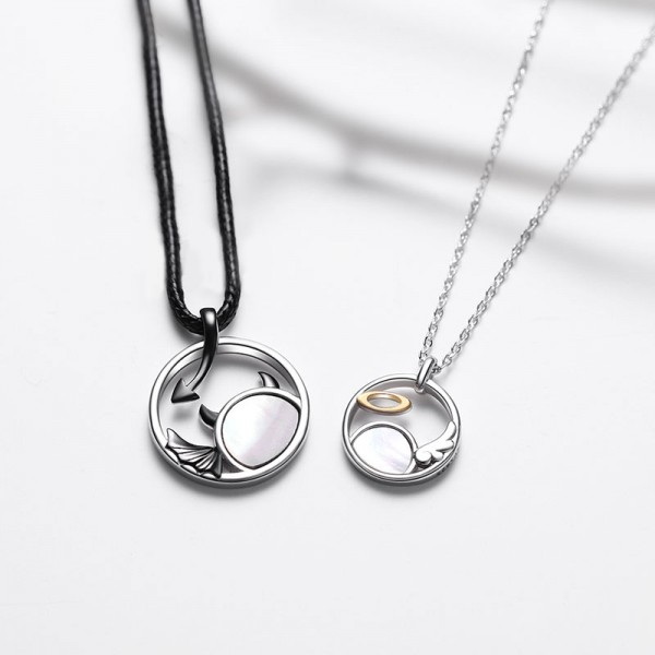 Engravable Angel And Demon Love Couple Necklace In Sterling Silver