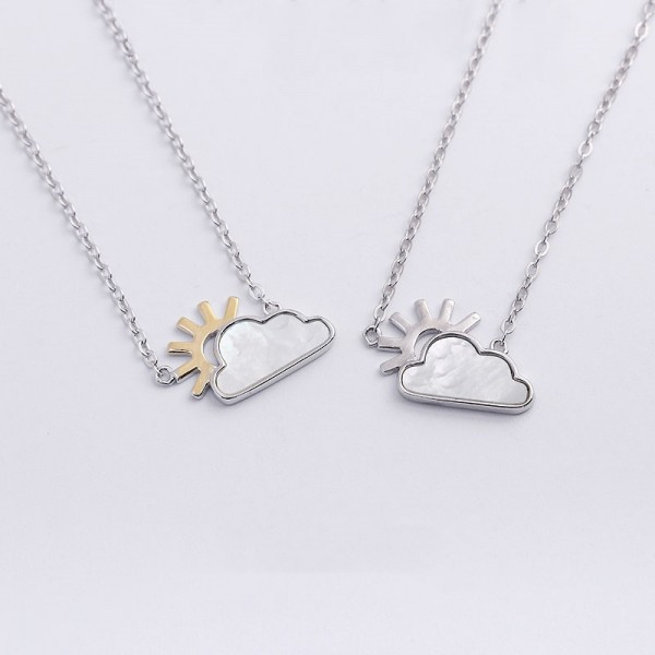 Personalized Sun And Clouds Couple Necklace In Sterling Silver