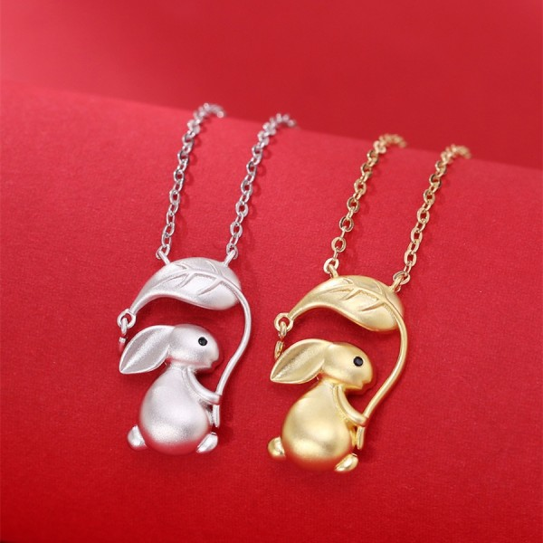 Personalized Cute Rabbit Necklace For Couples In Sterling Silver
