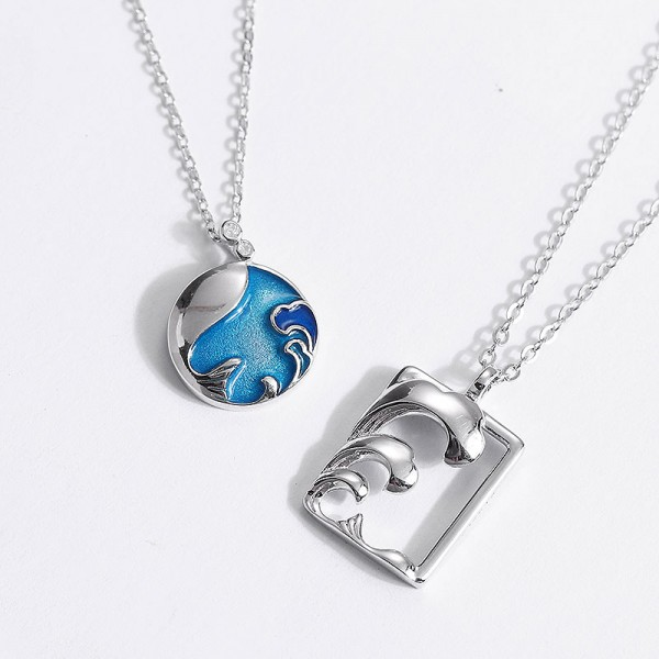 Personalized Sterling Silver Fish In The Sea Necklace For Couples