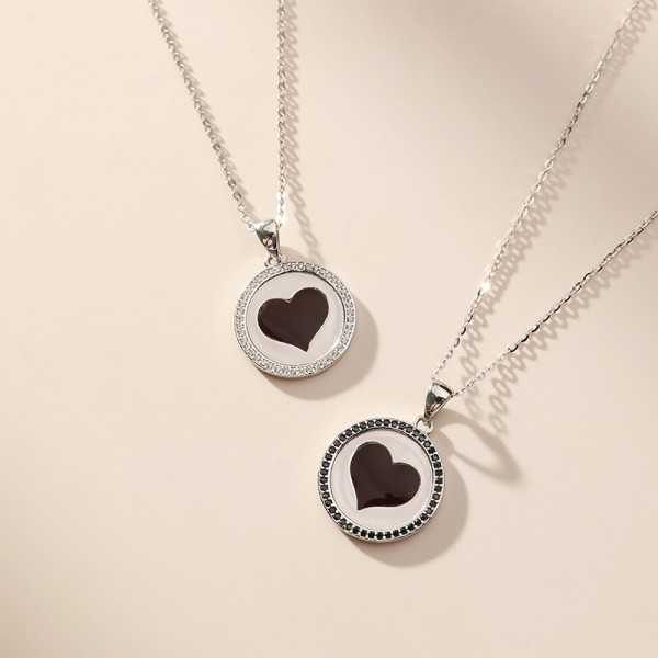 Variable Red Heart Pendant Necklace For Couples In Sterling Silver