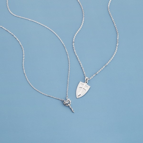 Personalized Princess And Knight Pendant Necklace For Couples In Sterling Silver