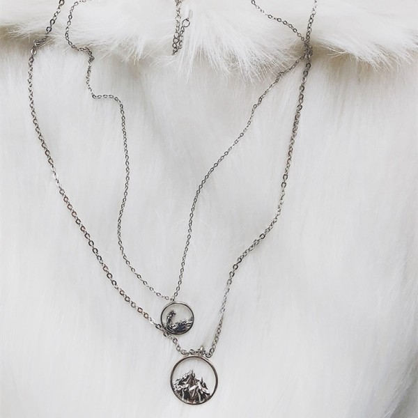 Mountain And Ocean Necklace For Couples In 925 Sterling Silver