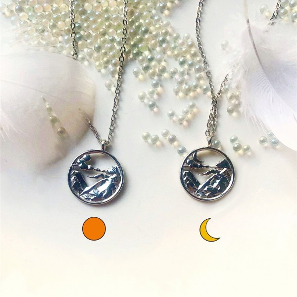 Personalized Sun And Moon Necklace For Couples In 925 Sterling Silver