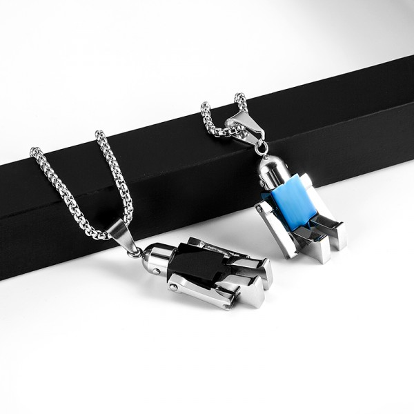 Personalized Cute Couple Robot Necklace In Titanium